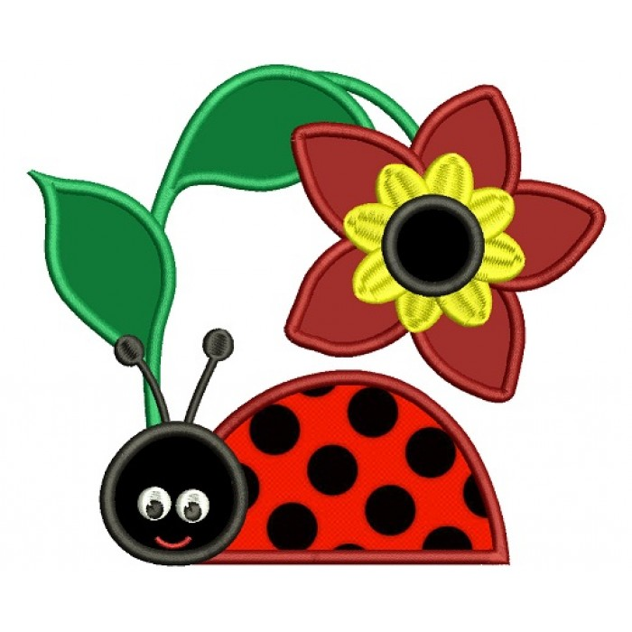 Ladybug Under a Big Flower Applique Machine Embroidery Design Digitized Pattern