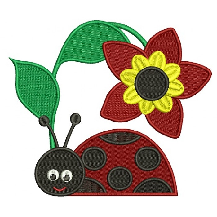 Ladybug Under a Big Flower Filled Machine Embroidery Design Digitized Pattern