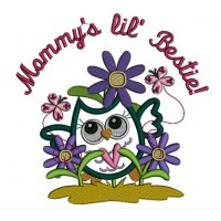 Mommy's Little Bestie Cute Owl With Flowers Applique Machine Embroidery Design Digitized Pattern