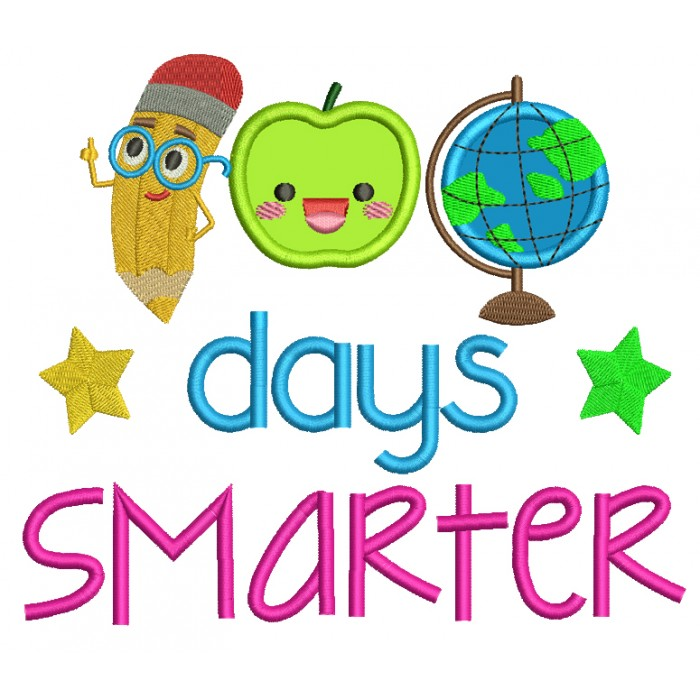100 Days Smarter Globe and Apple Filled Machine Embroidery Design Digitized Pattern
