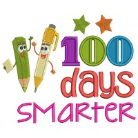 100 Days Smarter Two Pencils Applique Machine Embroidery Design Digitized Pattern