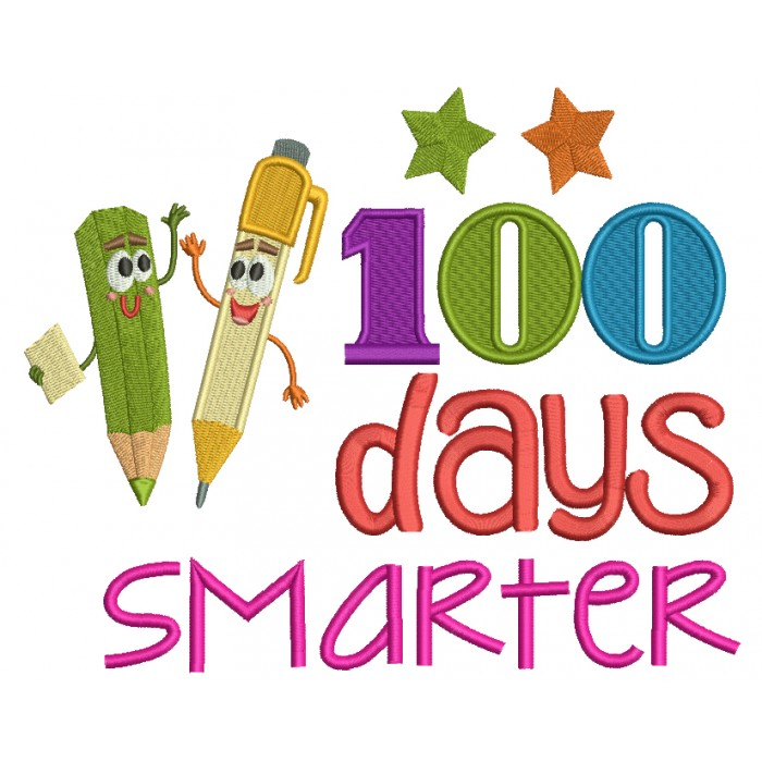 100 Days Smarter Two Pencils Filled Machine Embroidery Design Digitized Pattern