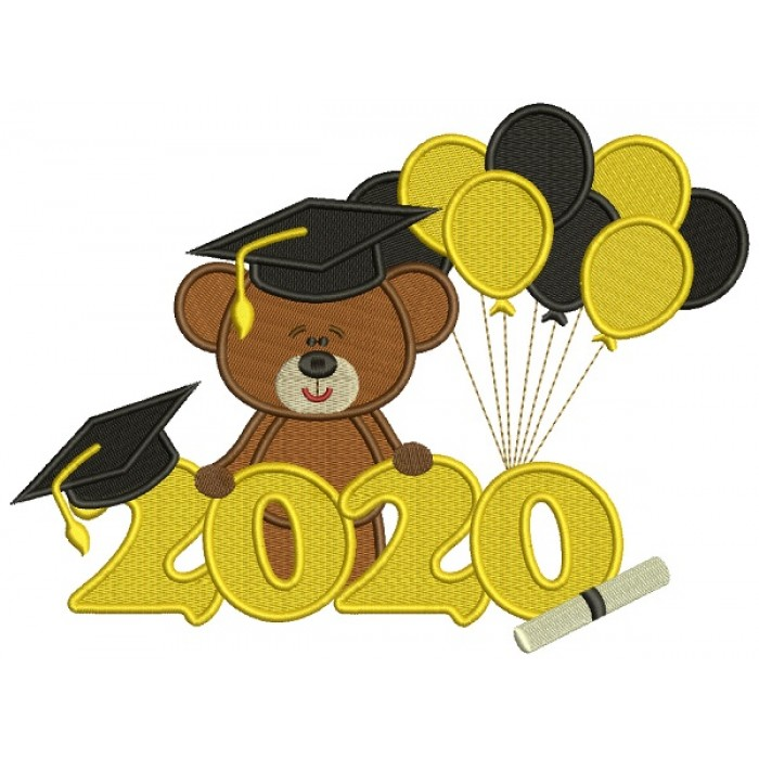 2020 Graduation Bear With Balloons School Filled Machine Embroidery Design Digitized Pattern