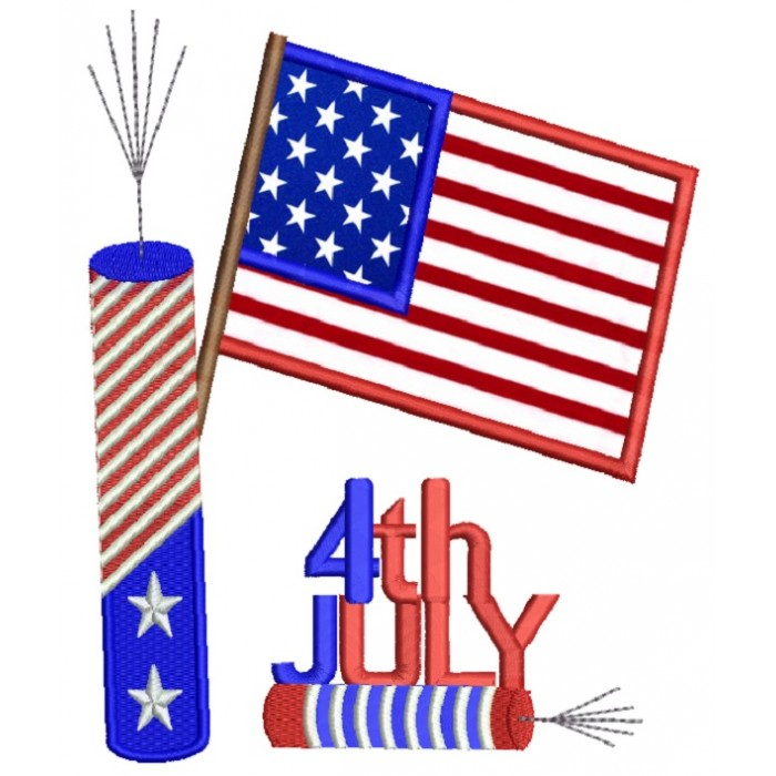 4Th of July Independence Day American Flag and Fireworks Applique Machine Embroidery Design Digitized Pattern