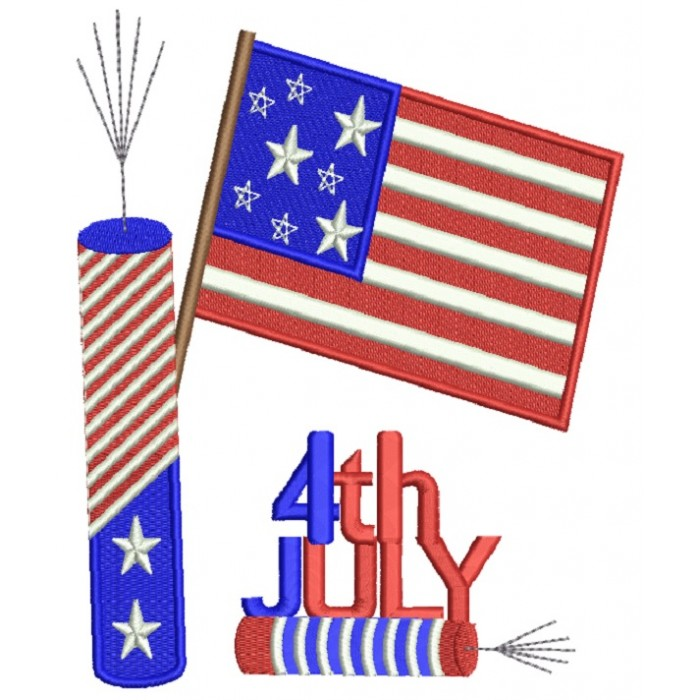 4Th of July Independence Day American Flag and Fireworks Filled Machine Embroidery Design Digitized Pattern