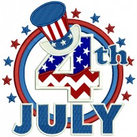 4th Of July Emblem With Big Hat Applique Machine Embroidery Design Digitized Pattern