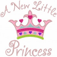 A New Little Princess Crown Applique Machine Embroidery Design Digitized Pattern