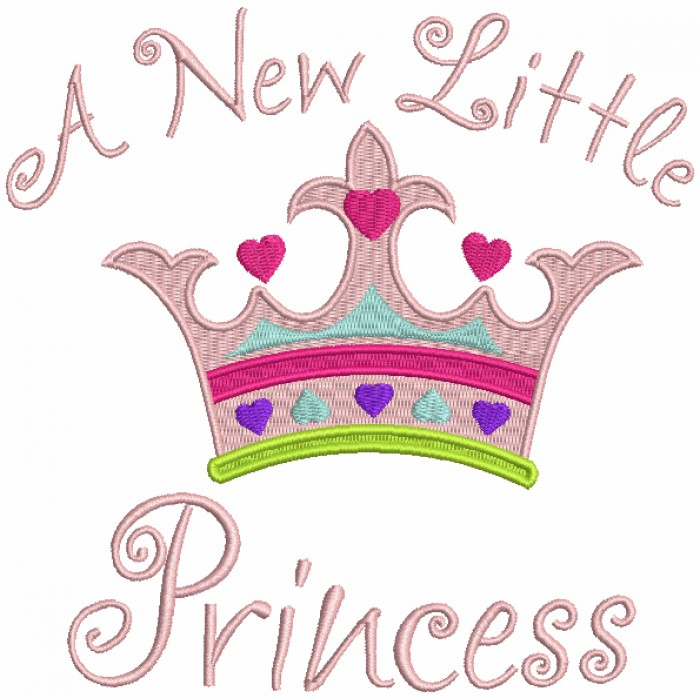 A New Little Princess Crown Filled Machine Embroidery Design Digitized Pattern
