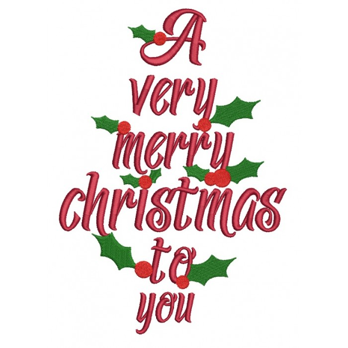 a very merry christmas to you filled machine embroidery design digitized pattern