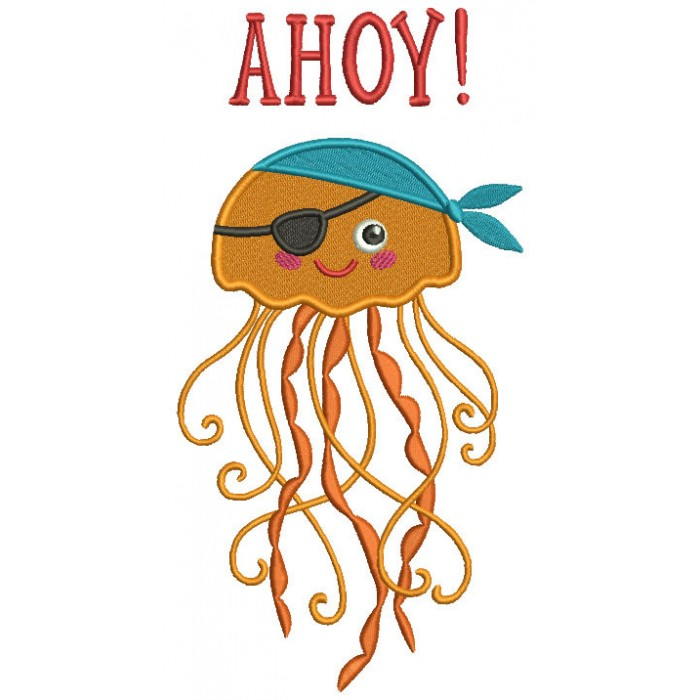 Ahoy Jelly Fish Pirate Filled Machine Embroidery Design Digitized Pattern