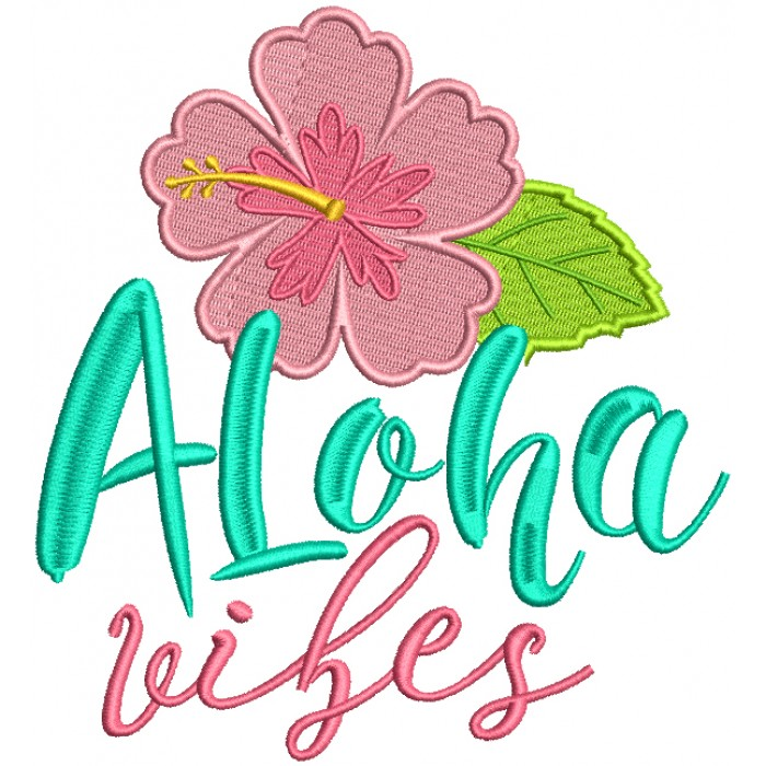 Aloha Wishes Hibiscus Filled Machine Embroidery Design Digitized Pattern