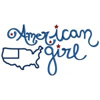American Girl With a Flag Applique Machine Embroidery Design Digitized Pattern