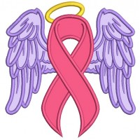 Angel Wings Breast Cancer Awareness Ribbon Applique Machine Embroidery Design Digitized Pattern