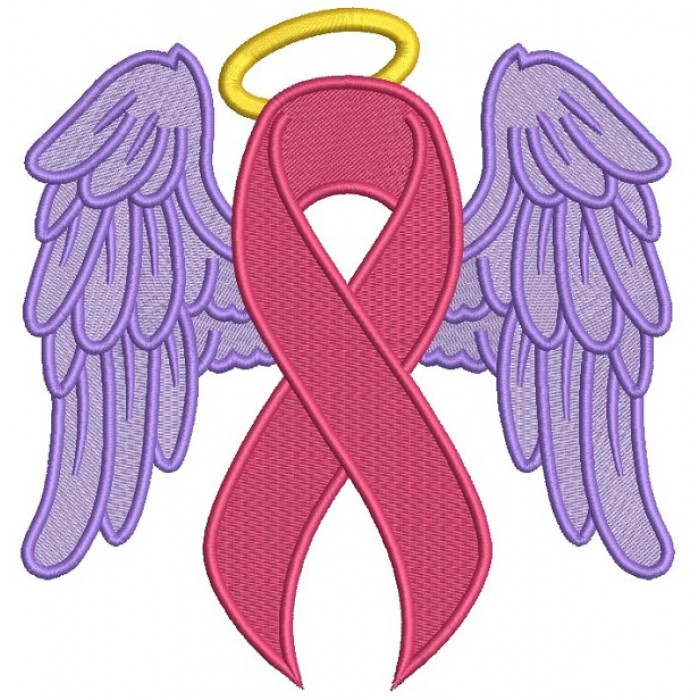 Angel Wings Breast Cancer Awareness Ribbon Filled Machine Embroidery Design Digitized Pattern