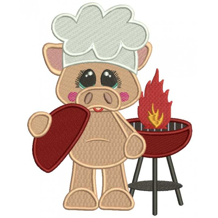 BBQ Chef Piggy With a Cute Smile Filled Machine Embroidery Design Digitized Pattern