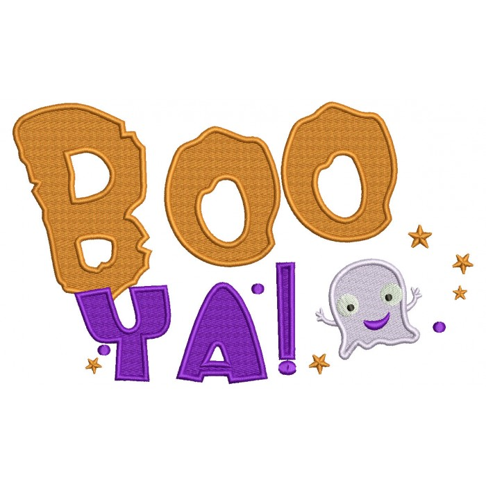 BOO YA Friendly Ghost Halloween Filled Machine Embroidery Design Digitized Pattern