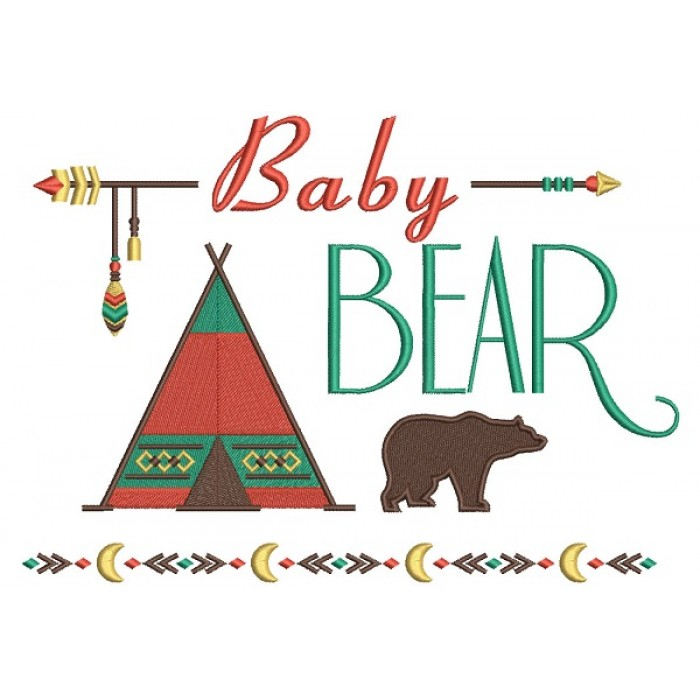 Baby Bear Tribal Filled Machine Embroidery Design Digitized Pattern