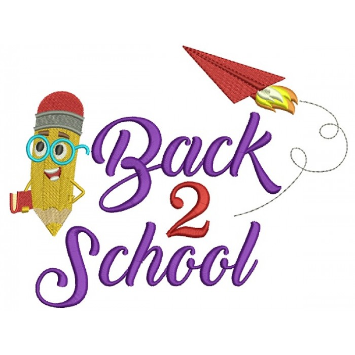 Back 2 School School Little Pencil With Books Filled Machine Embroidery Design Digitized Pattern