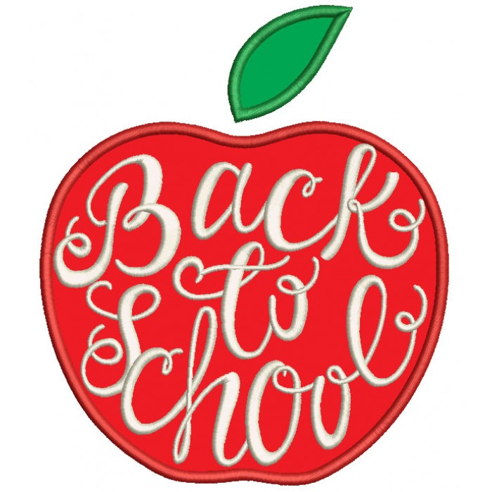 Back To School Apple Applique Machine Embroidery Design Digitized Pattern