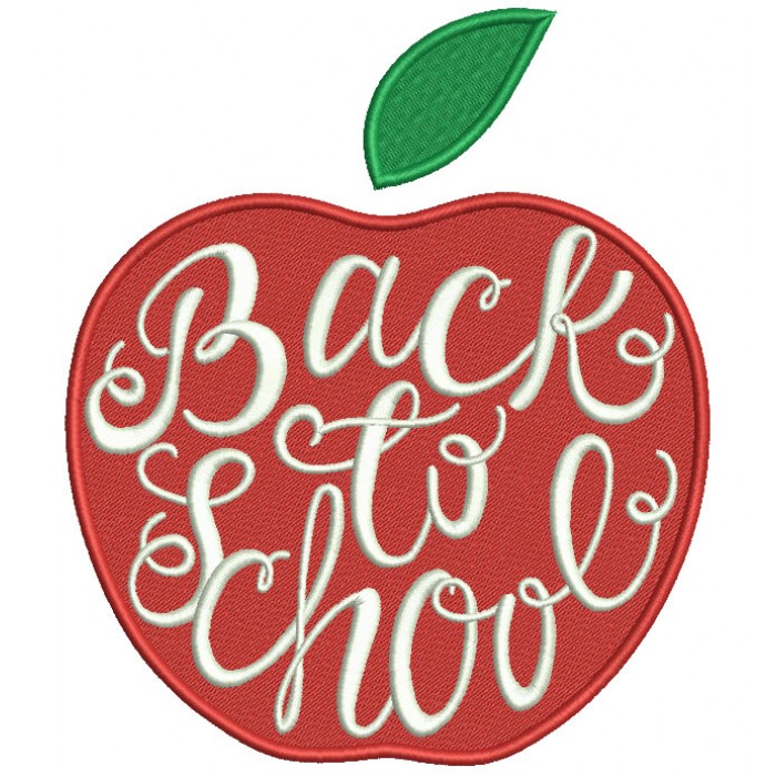 Back To School Apple Filled Machine Embroidery Design Digitized Pattern