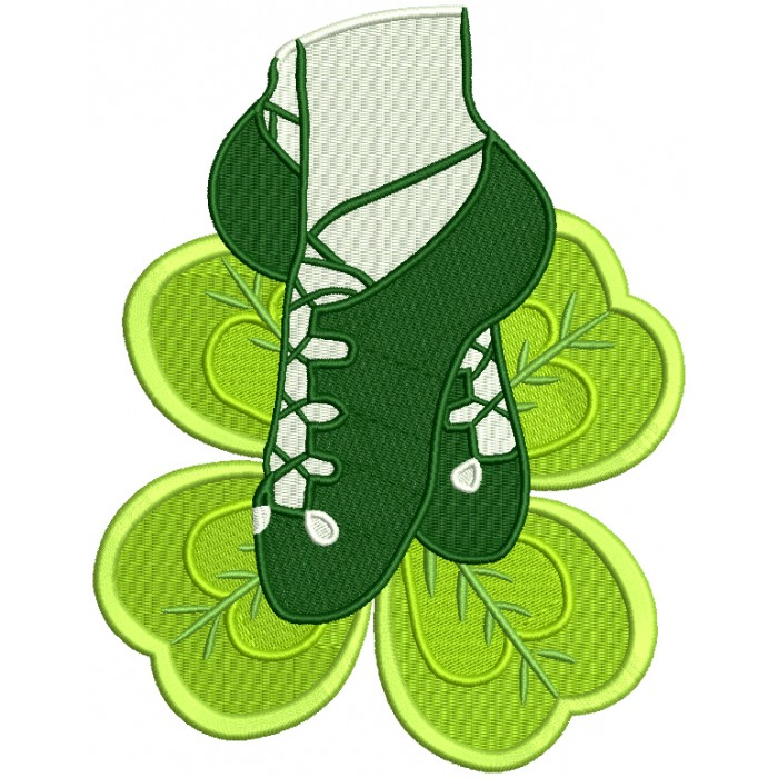 Ballet Shoes Shamrock St. Patrick's Day Filled Machine Embroidery Design Digitized Pattern