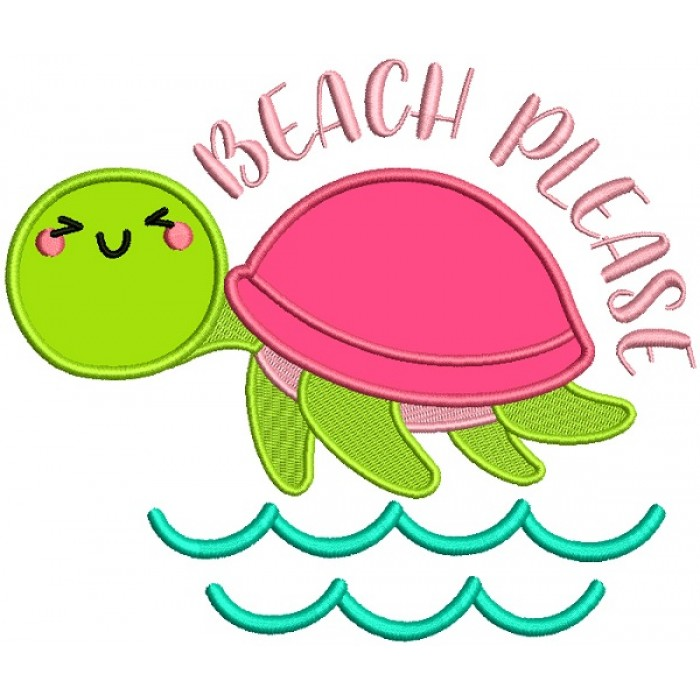 Beach Please Little Turtle Applique Machine Embroidery Design Digitized Pattern