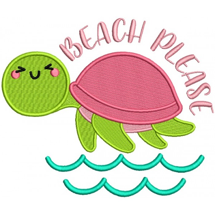 Beach Please Little Turtle Filled Machine Embroidery Design Digitized Pattern