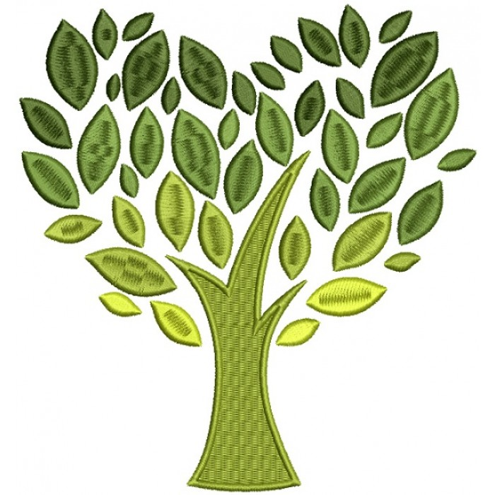 Beautiful Tree With Gorgeous Leaves Filled Machine Embroidery Design Digitized Pattern