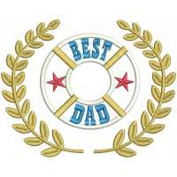 Best Dad With Stars Applique Machine Embroidery Design Digitized Pattern