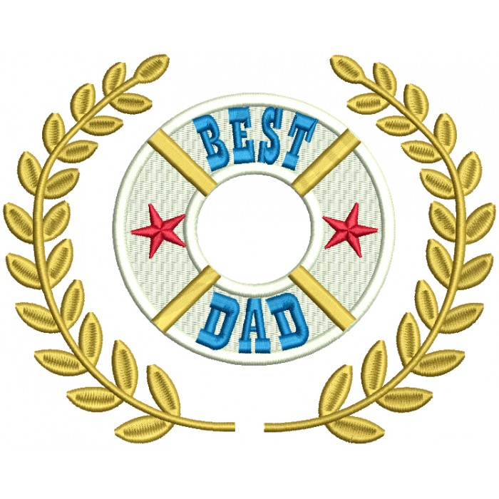 Best Dad With Stars Filled Machine Embroidery Design Digitized Pattern