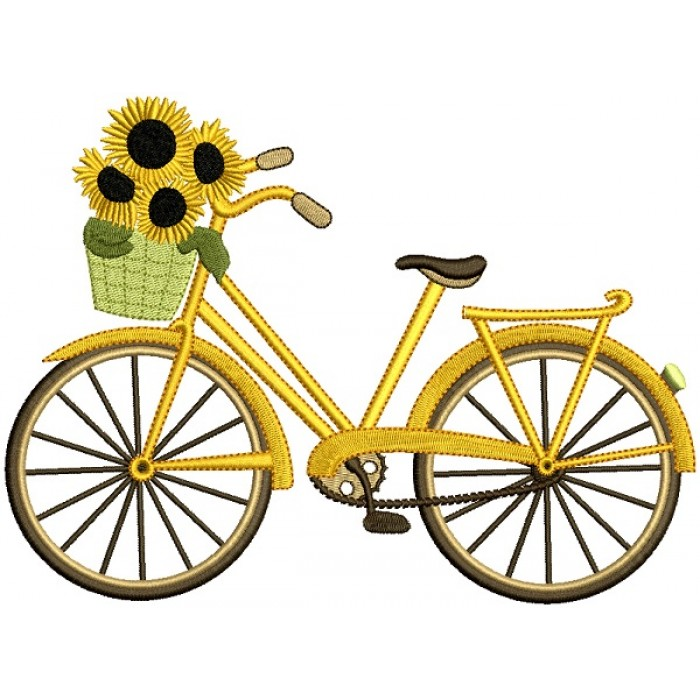 Bicycle With Sunflowers Filled Machine Embroidery Design Digitized Pattern
