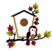 Bird House and a Bird Fall Applique Machine Embroidery Design Digitized Pattern