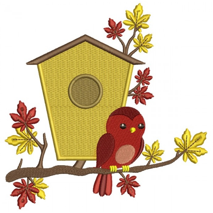 Bird House and a Bird Fall Filled Machine Embroidery Design Digitized Pattern