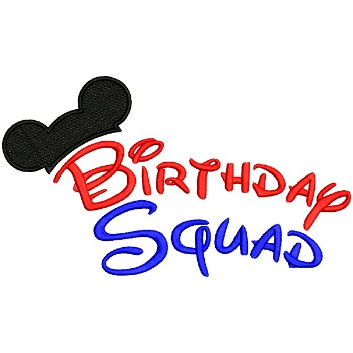 Birthday Squate Looks Like Mickey Mouse Ears Filled Machine Embroidery Design Digitized Pattern