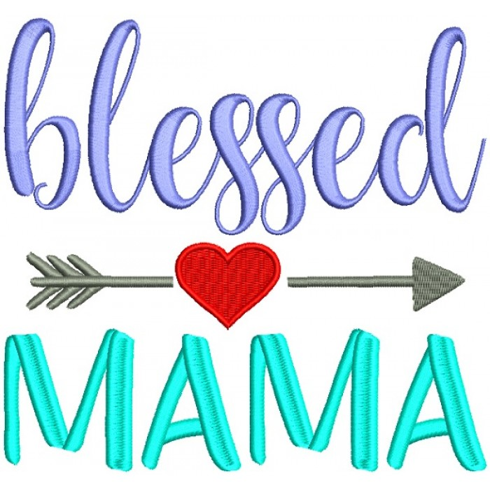 Blessed Mama With Heart And Arrow Filled Machine Embroidery Design Digitized Pattern