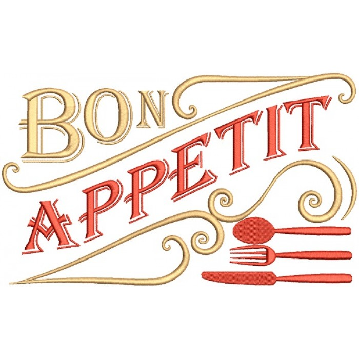 Bon Appetit Filled Machine Embroidery Design Digitized Pattern