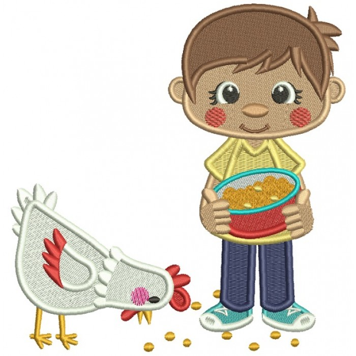 Boy Feeding Chickens Filled Machine Embroidery Digitized Design Pattern