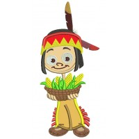Boy Indian Holding Corn Thanksgiving Applique Machine Embroidery Design Digitized Pattern