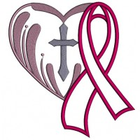 Breast Cancer Awareness Ribbon With A Cross Inside a Heart Applique Machine Embroidery Design Digitized Pattern