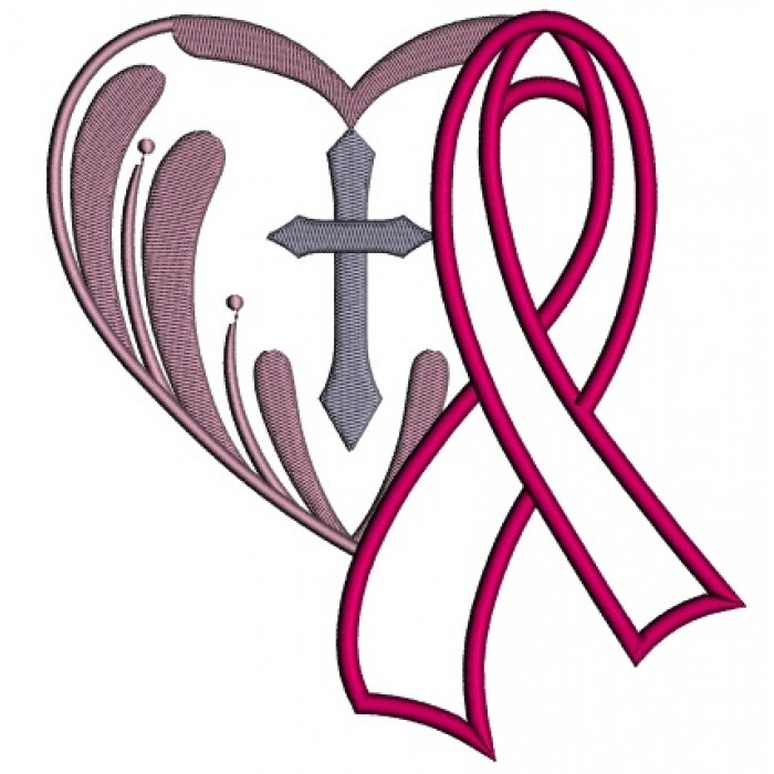breast cancer awareness ribbon with a cross inside a heart applique