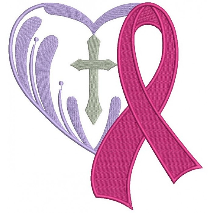breast cancer awareness ribbon with a cross inside a heart filled