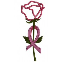 Breast Cancer Awareness Rose Ribbon Applique Machine Embroidery Design Digitized Pattern