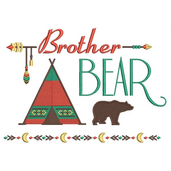 Brother Bear Tribal Filled Machine Embroidery Design Digitized Pattern