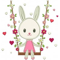 Bunny Swinging On A Swing With Flowers Applique Machine Embroidery Design Digitized Pattern