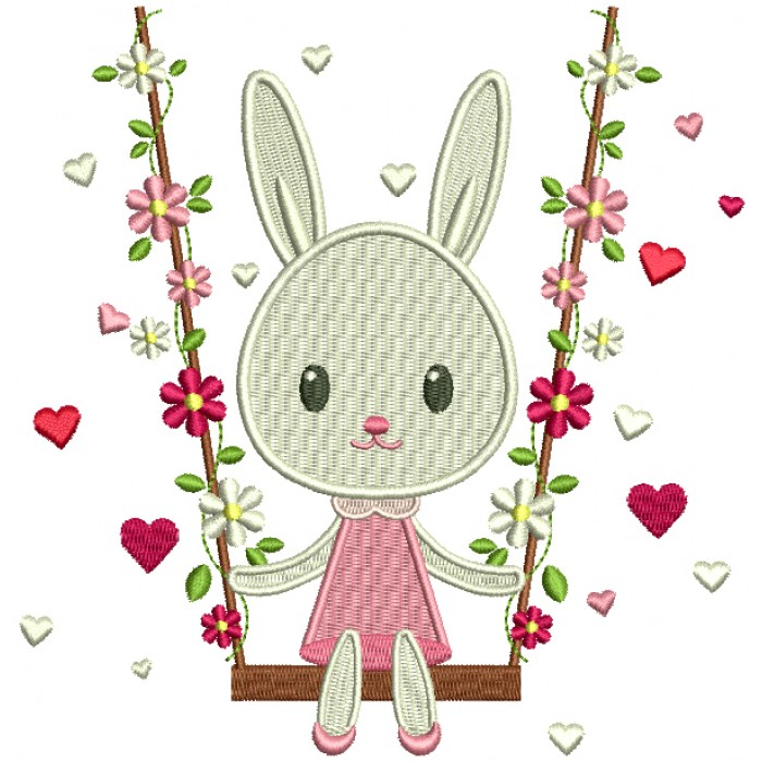 Bunny Swinging On A Swing With Flowers Filled Machine Embroidery Design Digitized Pattern