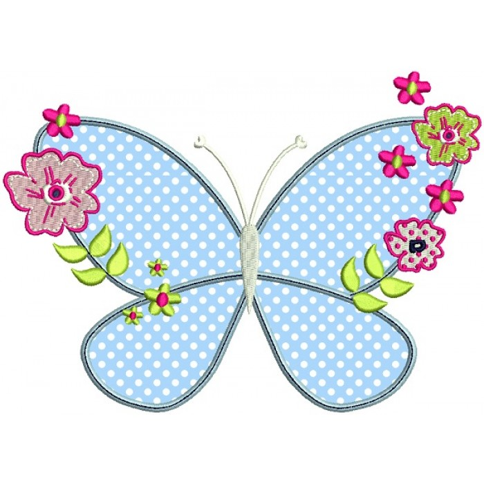 Butterfly With Flowers Applique Machine Embroidery Design Digitized Pattern