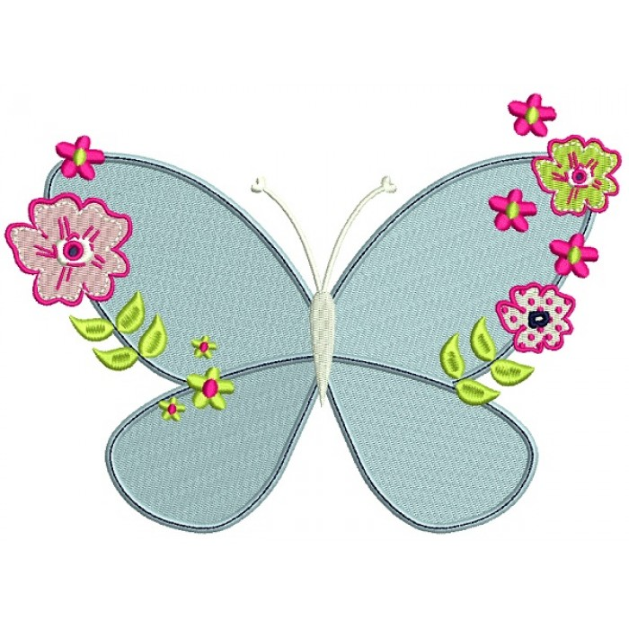 Butterfly With Flowers Filled Machine Embroidery Design Digitized Pattern