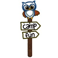 Camp Fun Owl Post Applique Machine Embroidery Design Digitized Pattern