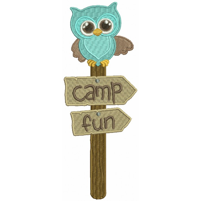 Camp Fun Owl Post Filled Machine Embroidery Design Digitized Pattern