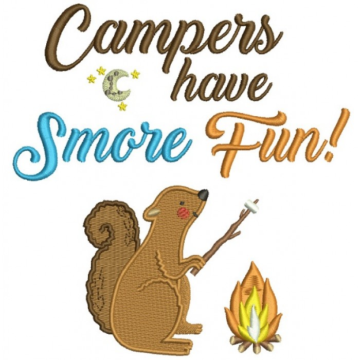 Campers Have Smore Fun Little Squirrel Filled Machine Embroidery Design Digitized Pattern